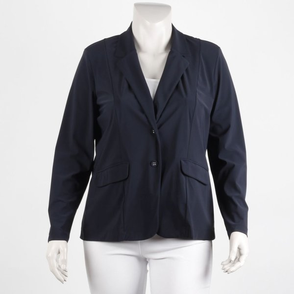 Klassiek kort colbert van Plus basics in navy of zwart.