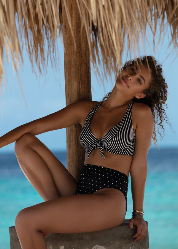 Freya Beach hut blue en black moon bikinitop.
