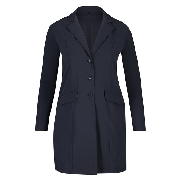 Lange colbert blazer van plus Basics in navy of zwart.